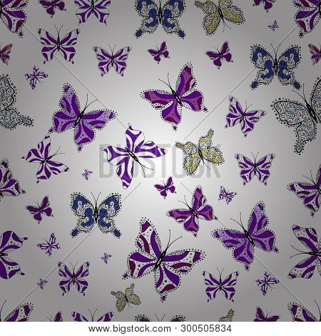 Vector Design. Nature Butterfly Repeat Theme In White, Violet And Black Colors. Wildlife Insect Faun
