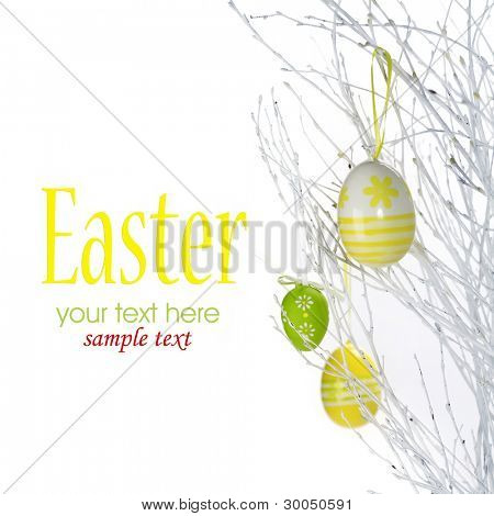 Pretty Colored Easter Eggs hanging on Ribbons with bows (with sample text)