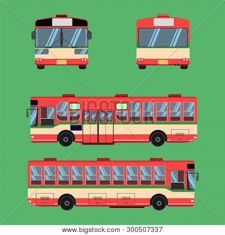 Thai Bus Red Green White Transport Car Vehicle Driver Fare Passenger Autobus Omnibus Coach Rail Benc