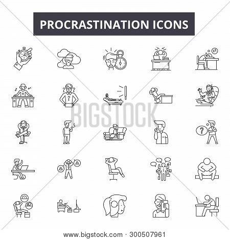 Procrastination Line Icons, Signs, Vector Set, Linear Concept, Outline Illustration
