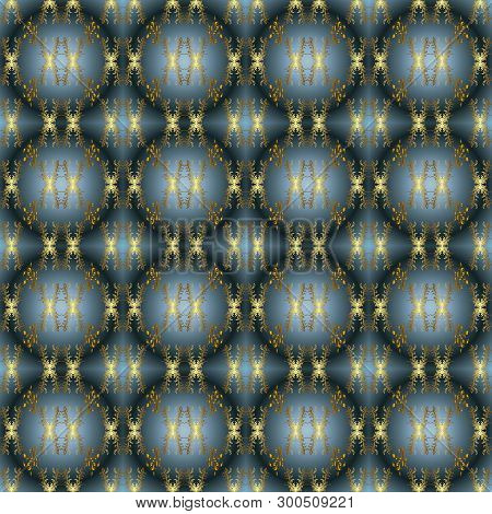 Seamless Pattern Beautiful Fabric Background. Doodles On A Blue, Neutral And Green Colors. Vector Te