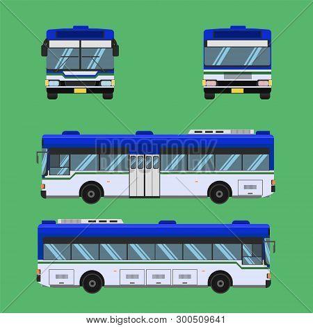 Thai Bus Blue White Green Transport Car Vehicle Driver Fare Passenger Autobus Omnibus Coach Rail Ben