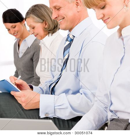 Interview applicants business people waiting study report