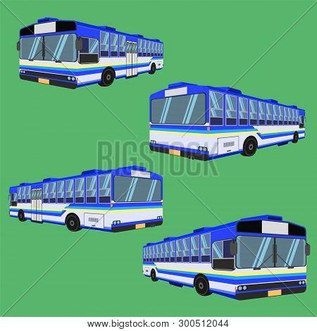3d Thai Bus Blue Sky Yellow White Transport Car Vehicle Driver Fare Passenger Autobus Omnibus Coach