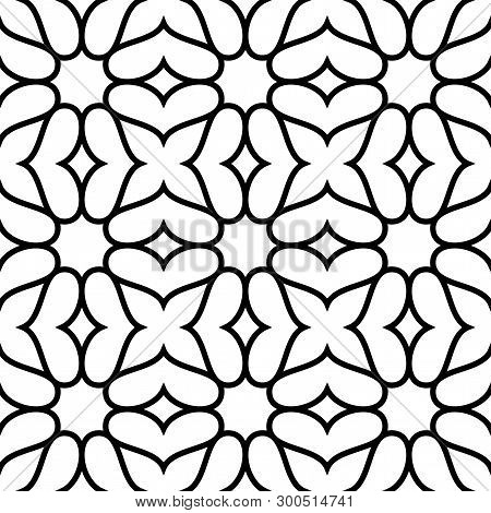 Black And White Ornate Geometric Pattern And Abstract Background. Ornamental Seamless Pattern. Geome