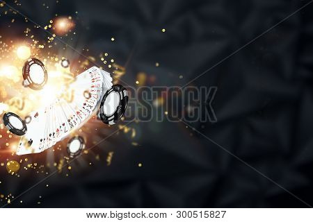 Creative Background, Cards, Casino Chips On A Dark Background. The Concept Of Gambling, Poker, Casin