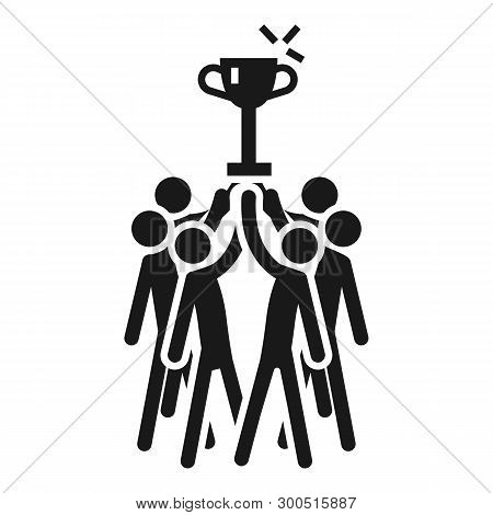 People Cooperation Win The Cup Icon. Simple Illustration Of People Cooperation Win The Cup Vector Ic