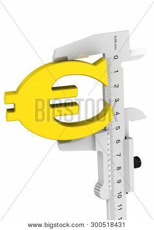 Caliper Measures European Currency Symbol. Caliper Measures The Golden Symbol Of The European Curren