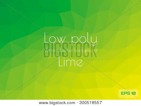 Low Poly Green Lime Abstract Gradient Background. Geometric Triangulation In Ufo Green Style. Textur