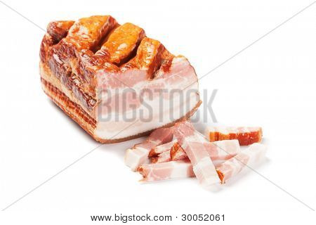 Smoked bacon, pork meat isolated on white background