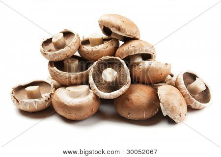 Raw portabello mushrooms isolated on white background