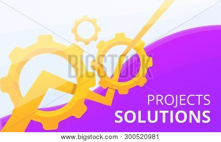 Project Solution Concept Banner. Cartoon Illustration Of Project Solution Vector Concept Banner For
