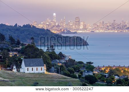 Scenic Views Of Old St Hillarys Church, Angel Island, Alcatraz Prison, San Francisco Bay And San Fra