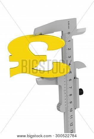 Caliper Measures British Pound Sterling Symbol. Caliper Measures The Golden Symbol Of The British Po