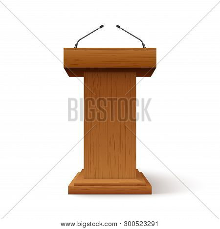 Tribune Podium Rostrum Speech Stand. Conference Stage With Microphone, Press Or Debate Speaker Isola
