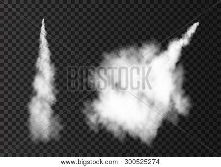 Smoke From Space Rocket Launch. Foggy Plane Trail  Isolated On Transparent Background. Fog.  Realist