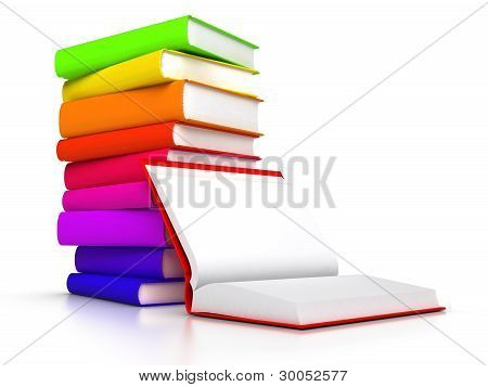 Open Book Front Of Stack Of Books