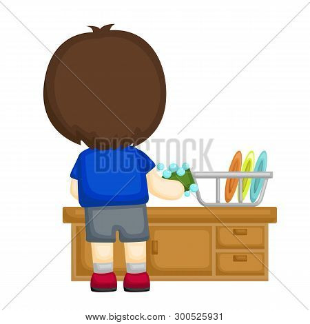 Little Boy Washing A Stack Of Plates