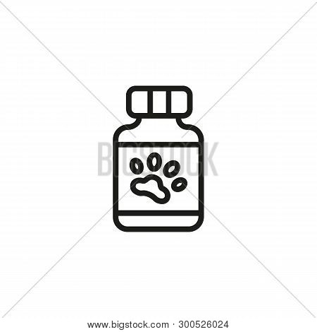 Pet Vitamins Line Icon. Dog Care, Pet Medical, Pet Shop. Pet Concept. Vector Illustration Can Be Use