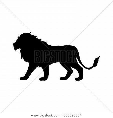 Lion Predator Black Silhouette Animal. Vector Illustrator.