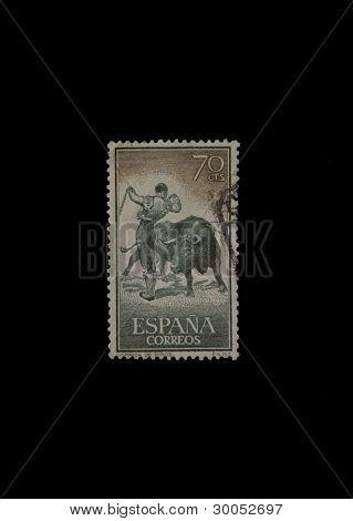 SALAMANCA 02/16/2012 Vintage Spanish stamp printed in 1960 with bullfight illustration