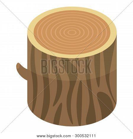Wood Stump Icon. Isometric Of Wood Stump Vector Icon For Web Design Isolated On White Background