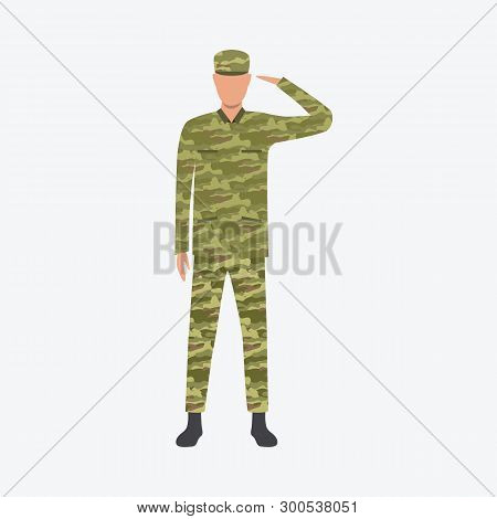 Military Man Standing And Saluting. Military Service, Occupation, Profession Concept. Vector Illustr