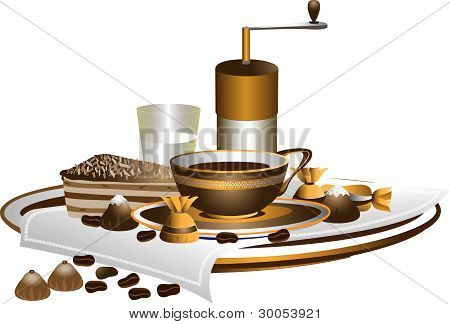 Cup of coffee and dessert on a white napkin.Illustration