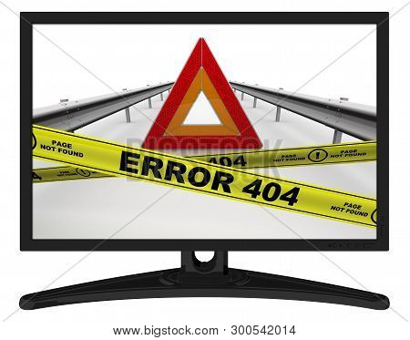 Error 404 (page Not Found). The Message In The Monitor. Emergency Stop Sign Of A Vehicle On The Carr