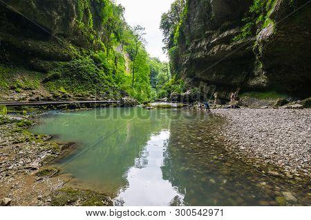 View Of The Brook In Caucasian Mountains In Krasnodar Krai, Russia