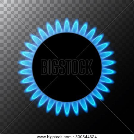 Gas Flame Blue Energy. Gas Stove Burner For Cooking. Fire Heat Butane Or Propane Natural Power Isola