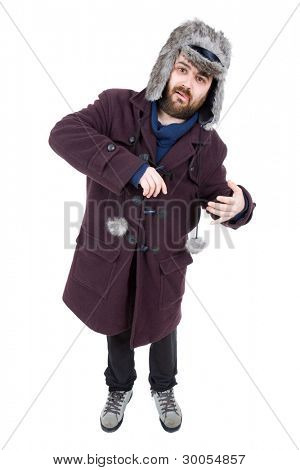 young casual silly man full body isolated on white