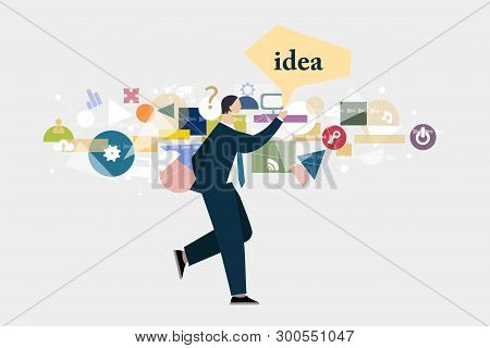 Businessman In Suit Walking And Holding Too Much Information In His Head, Generating Ideas And Servi
