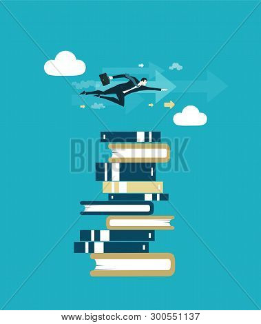 Businessman Flying Above The Pile Of Books Represents Knowledge, Owning The Data And Technological P