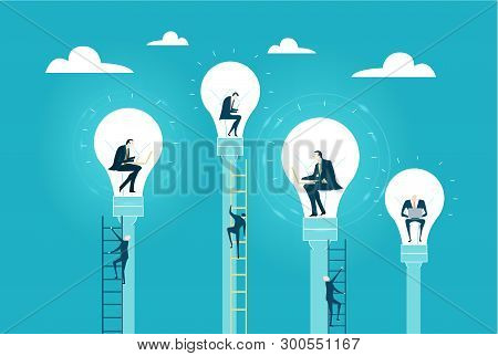 Business People Working Inside Of Light Bulbs As Symbol Of Generating The Great Ideas And And Fresh