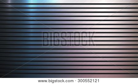 Polished Metal Background Template. Metallic Groove Texture. Aluminum Textured Surface Backdrop. Tec