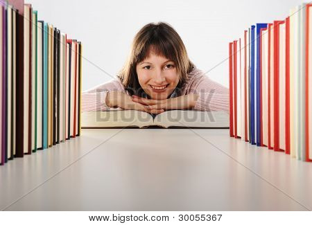 Female Student With Books, Look At Camera