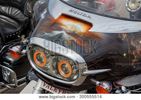 Moscow, Russia - May 04, 2019: Headlights And Windproof Shield With Airbrushing Of Honda Valkyrie Mo