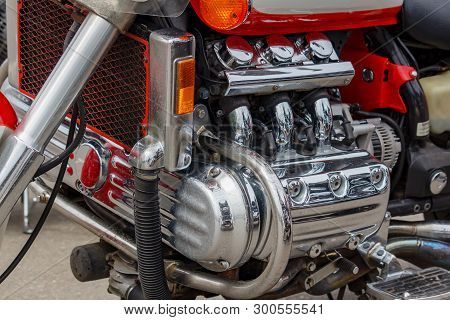 Moscow, Russia - May 04, 2019: Chromed Engine Of Honda Valkyrie Motorcycle Closeup. Moto Festival Mo