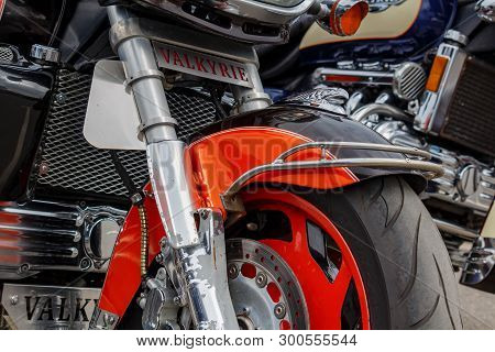 Moscow, Russia - May 04, 2019: Front Wheel Of Honda Valkyrie Motorcycle Closeup. Moto Festival Mosmo