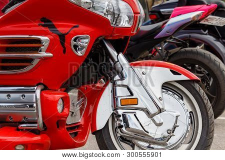 Moscow, Russia - May 04, 2019: Tourist Trike Honda Gold Wing In Bright Red Plastic Body Kit In The P