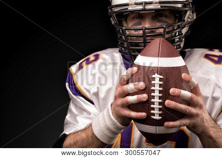 Portrait Close-up, American Football Player, Bearded In Helmet. Concept American Football, Patriotis