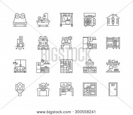 Accomodation Line Icons, Signs, Vector Set, Outline Illustration Concept