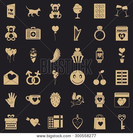Romance Icons Set. Simple Style Of 36 Romance Vector Icons For Web For Any Design
