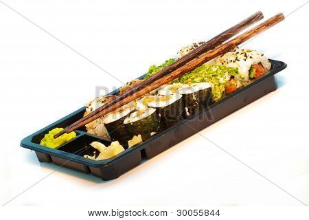 Sushi Set With Chopsticks In A Take Away Box