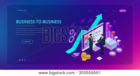 Isometric Successful Business Collaboration. Businessmen Shaking Hands. B2b. Data And Key Performanc