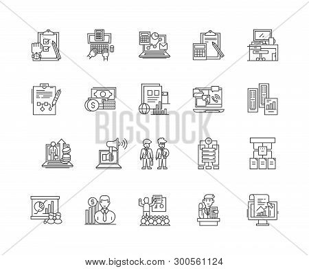 Auditors Line Icons, Signs, Vector Set, Outline Illustration Concept