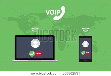 Voip Call System Voice Phone Technology. Voice Over Ip Internet Video Telephony Data Cloud Laptop An