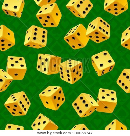 Vector yellow dice on green seamless background