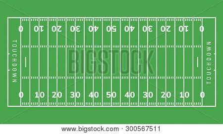 American Football Field Background. Rugby Stadium Grass Field Illustration